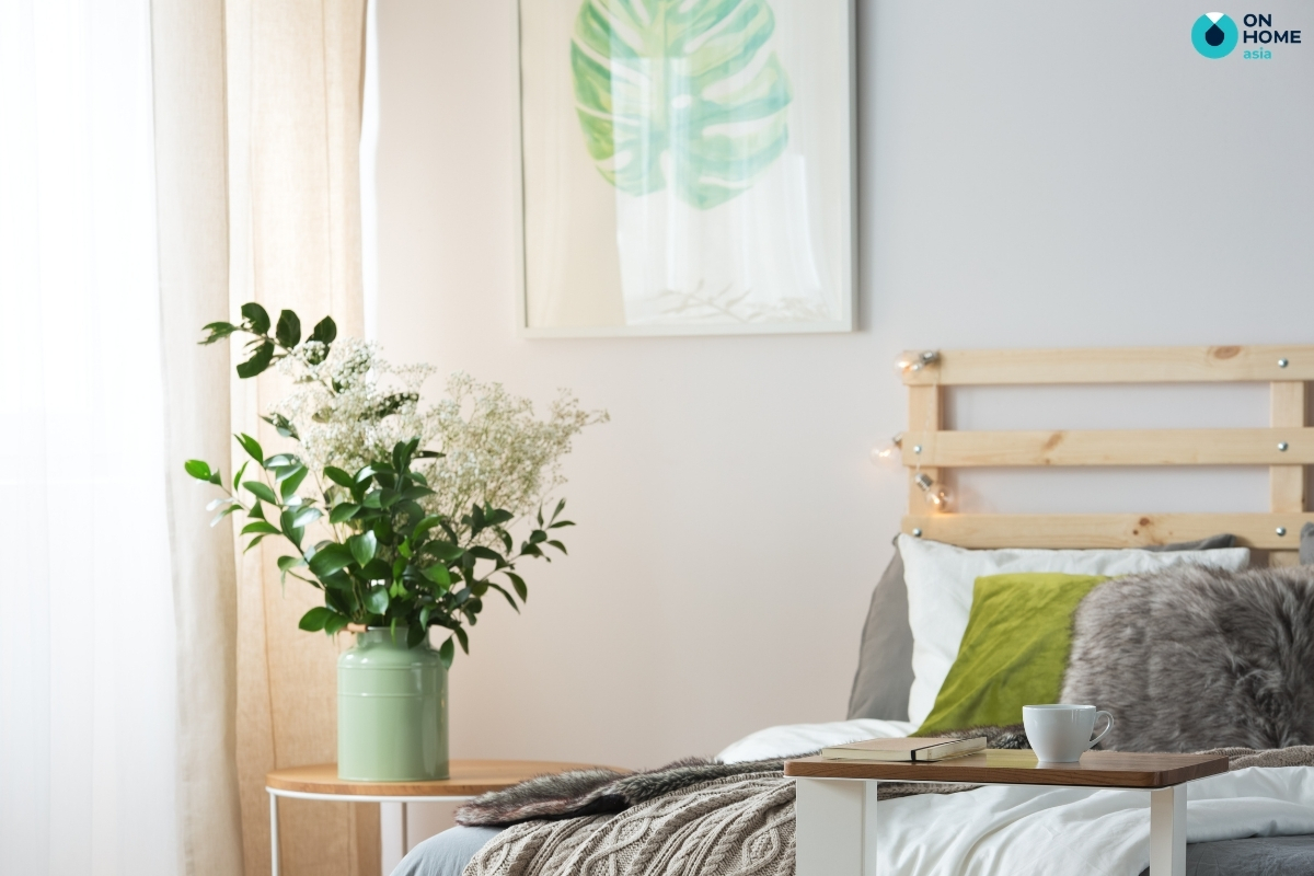 hoa khô lạ mắt trang trí phòng ngủ