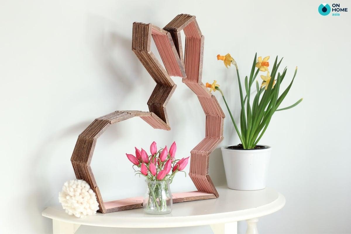 que kem làm thành hình con thỏ trang trí phòng ngủ độc đáo