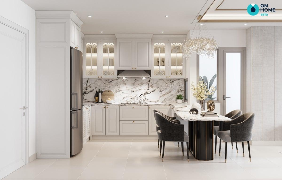 nhà bếp phong cách luxury tại căn hộ compass one