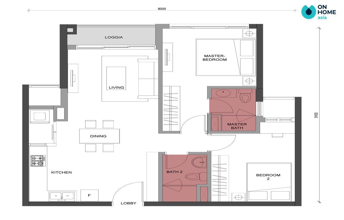 Mặt bằng căn 2 phòng ngủ - 2BRA