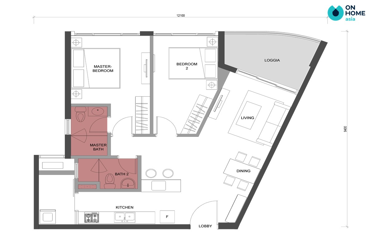 Mặt bằng căn hộ 2 phòng ngủ -2BRE