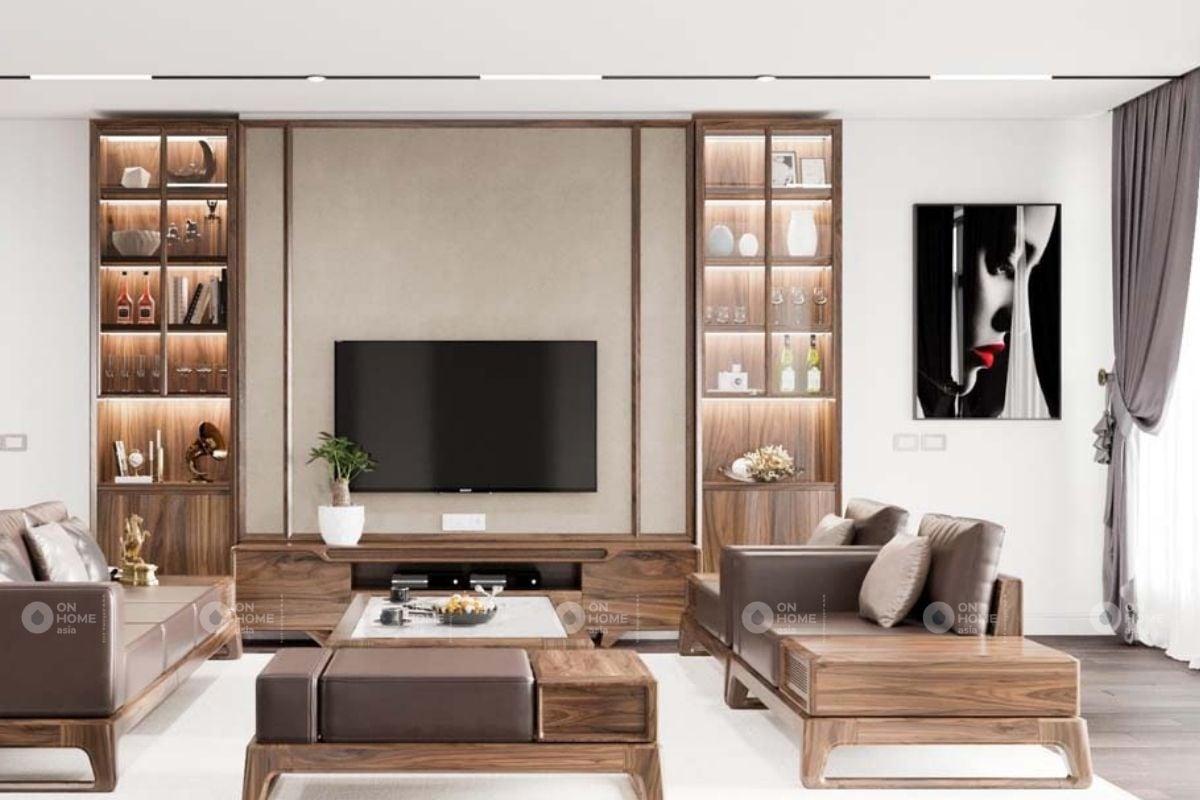 Tủ gỗ trang trí phòng khách sang trọng