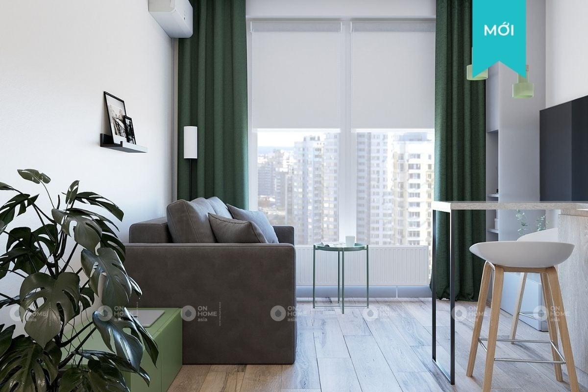 Thiết kế nội thất chung cư 45m2 mang sắc màu tự nhiên