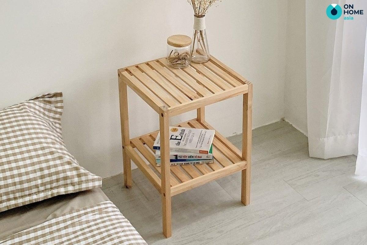 chất liệu gỗ tự nhiên làm tủ đầu giừng đơn giản