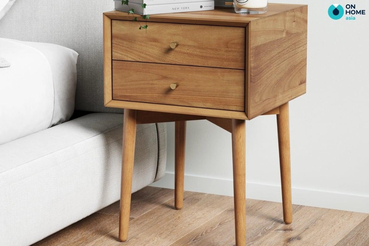 chất liệu gỗ tự nhiên làm thành tủ đầu giường kiểu dáng đơn giản