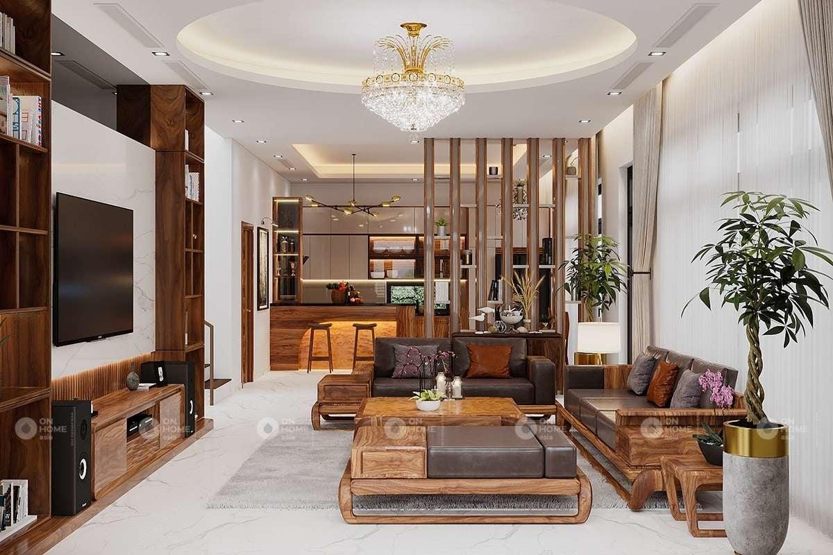 Trang trí nội thất phòng khách 25m2 sang trọng
