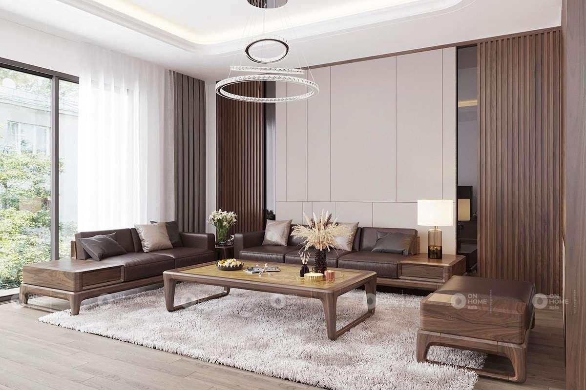 Thiết kế phòng khách gỗ phù hợp với những không gian tư 30m2 trở lên