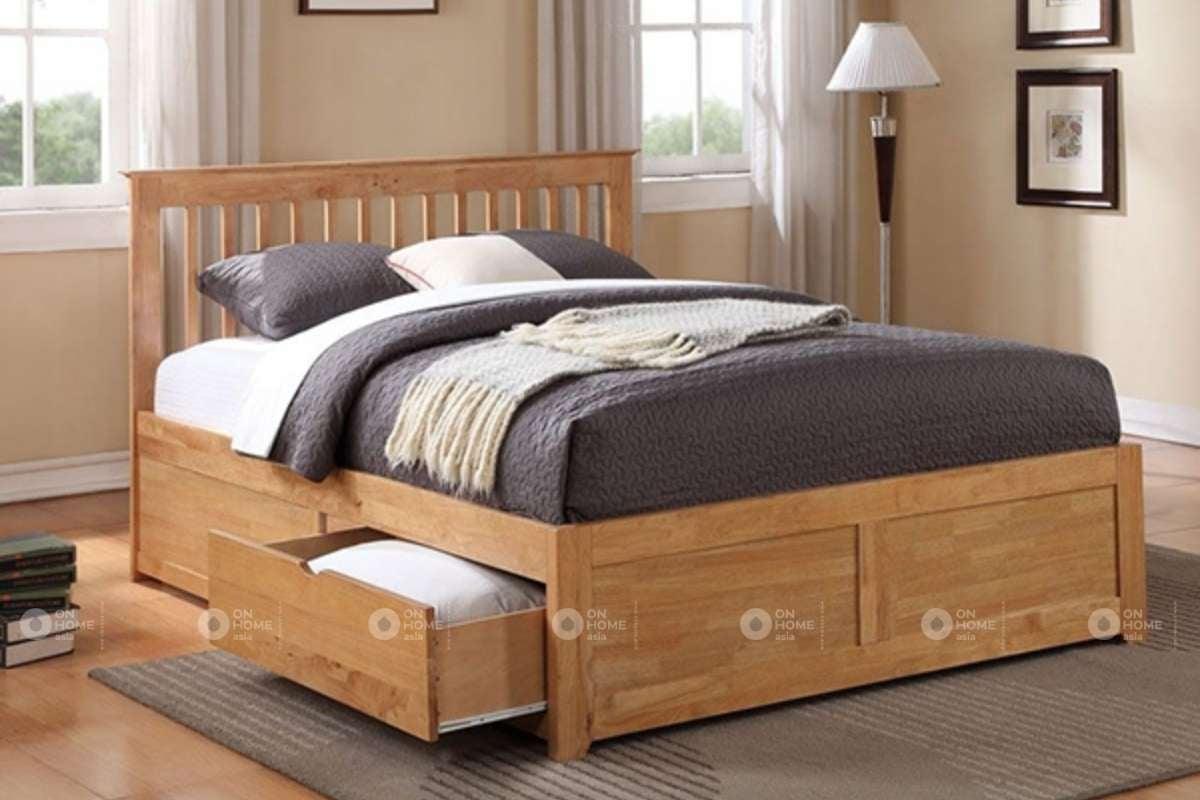 Nội thất giường ngủ làm bằng chất liệu gỗ công nghiệp
