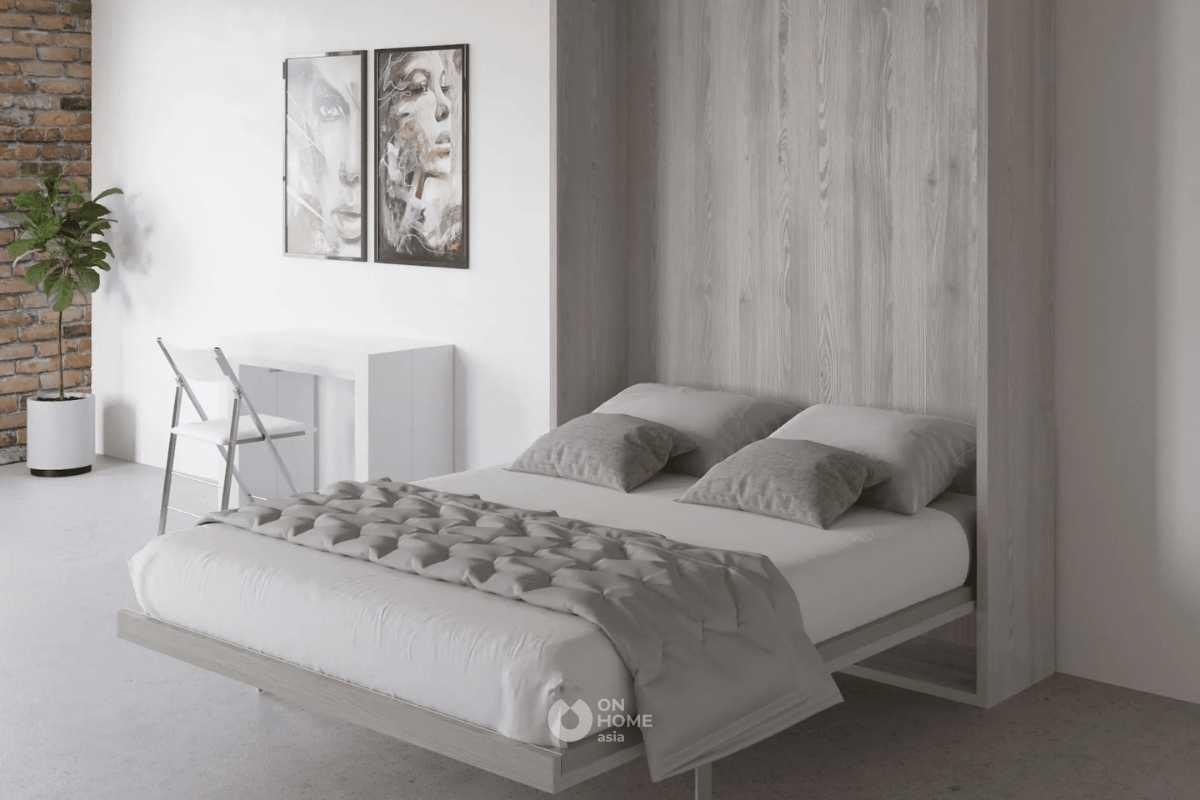 Giường ngủ âm tường thông ấn tượng.