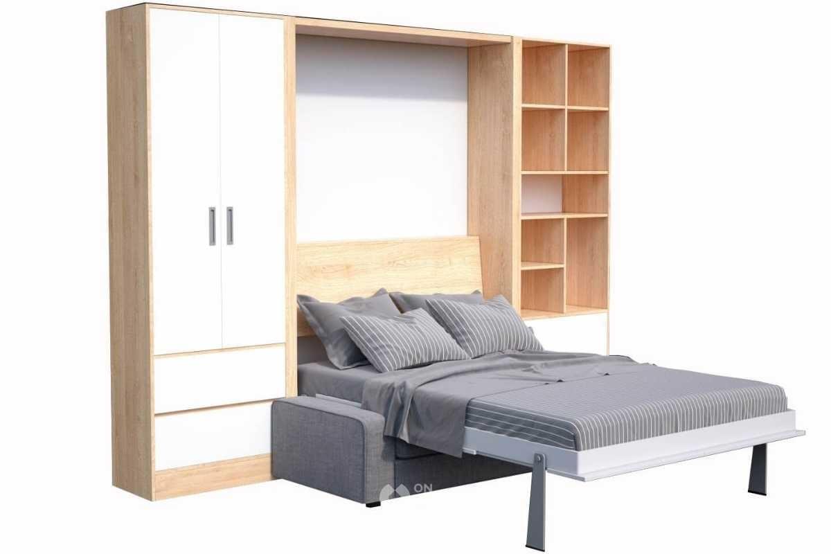 Giường ngủ kết hợp với sofa phòng khách.