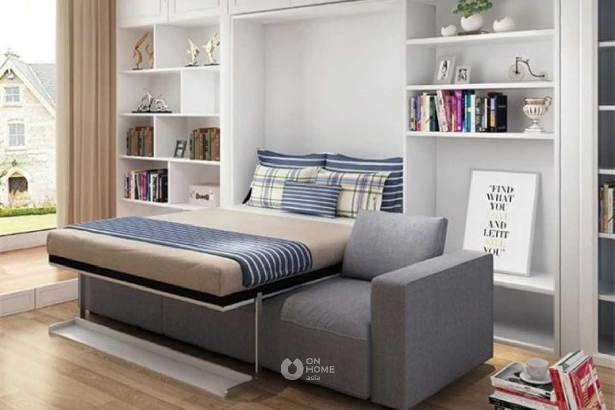 Giường ngủ kết hợp với sofa vải nỉ.
