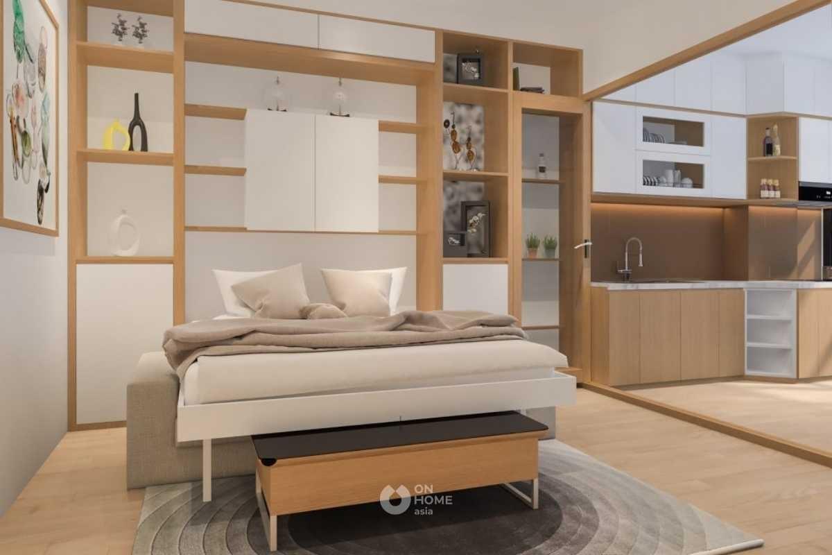 Giường ngủ kết hợp với sofa.
