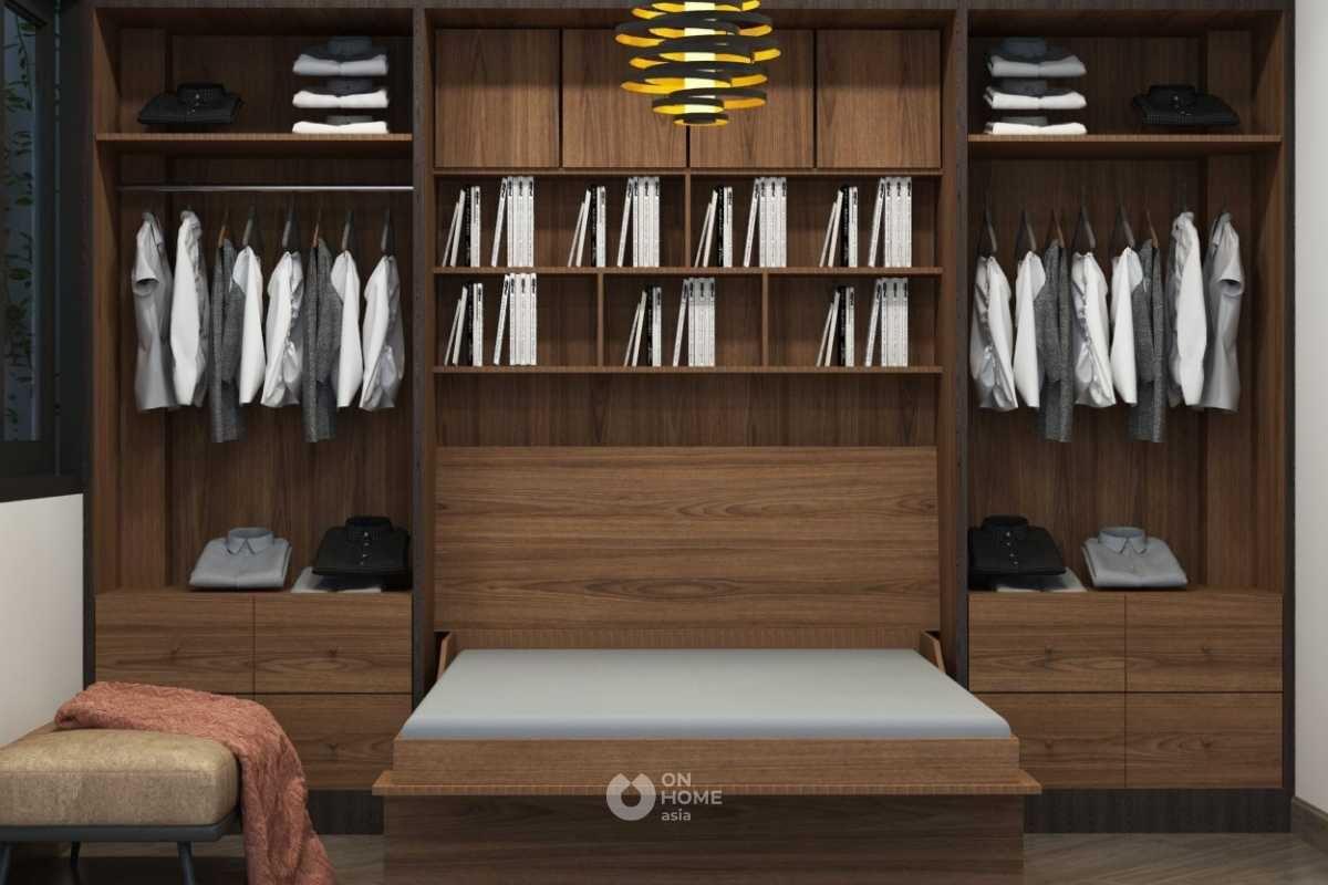 Giường ngủ kết hợp với tủ quần áo thông minh màu gỗ đẹp.