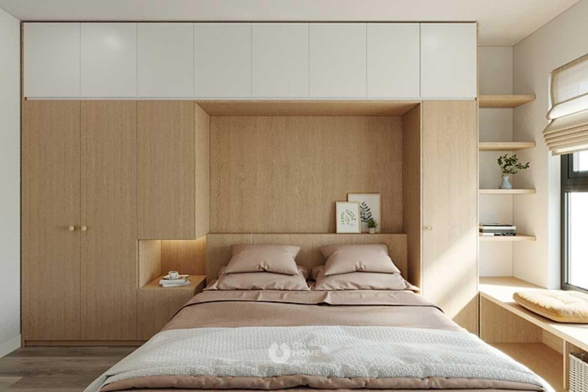 Giường ngủ kết hợp với tủ quần áo thông minh.