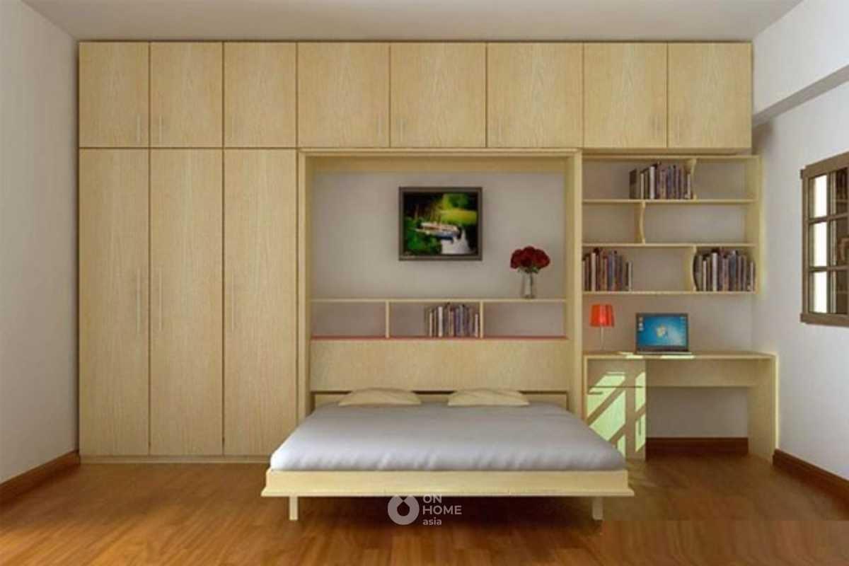 Giường ngủ kết hợp với tủ quần áo.