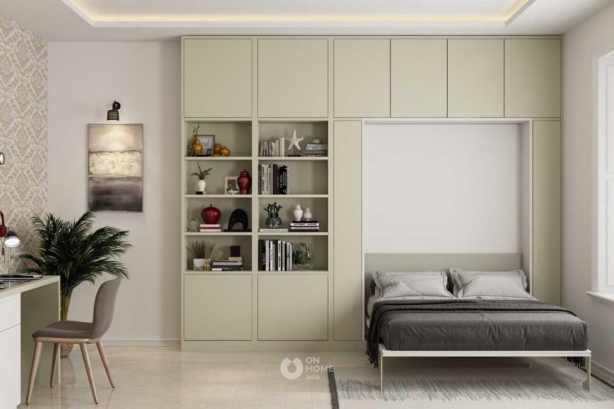Giường ngủ kết hợp với tủ trang trí.