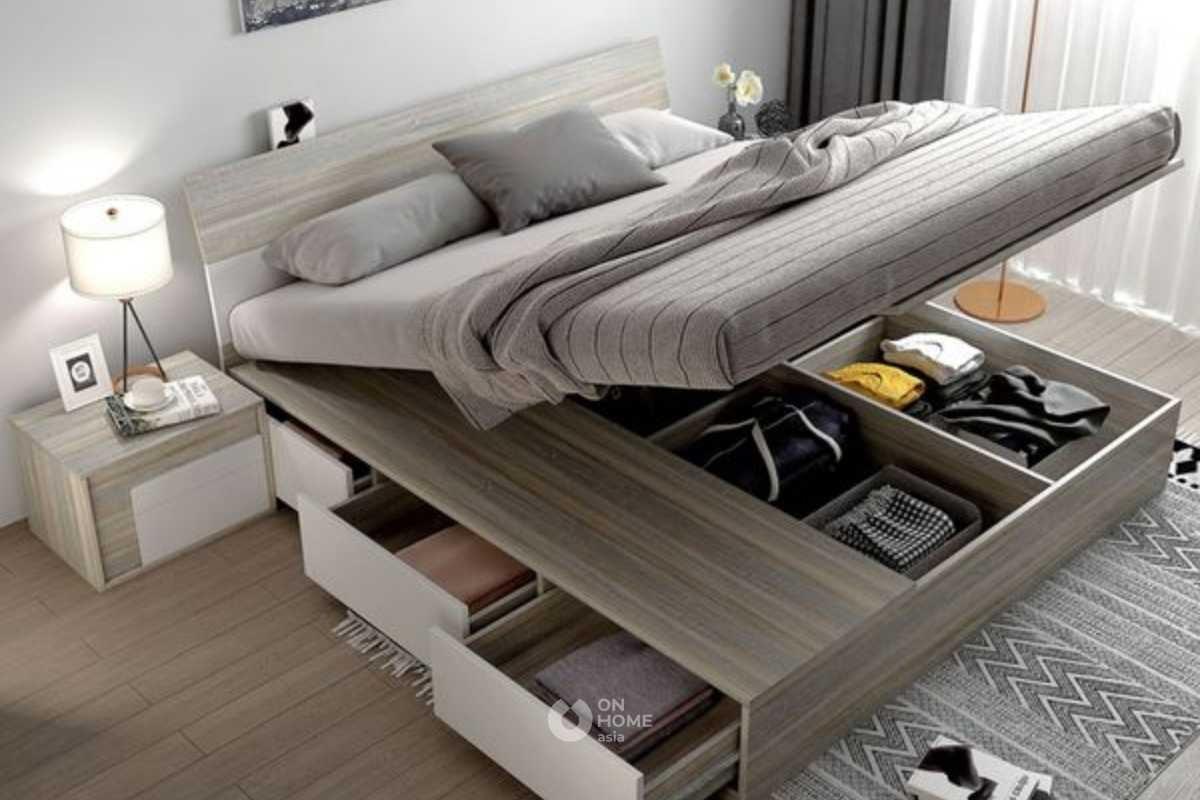 Giường ngủ thông minh có nhiều hộc kéo để đựng đồ.