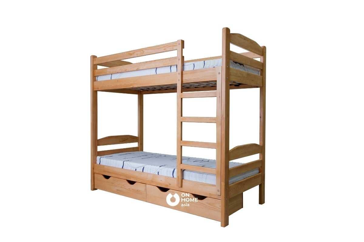 Giường tầng thông minh bằng chất liệu gỗ.