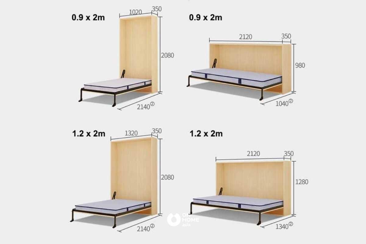 Mẫu giường gấp thông minh.