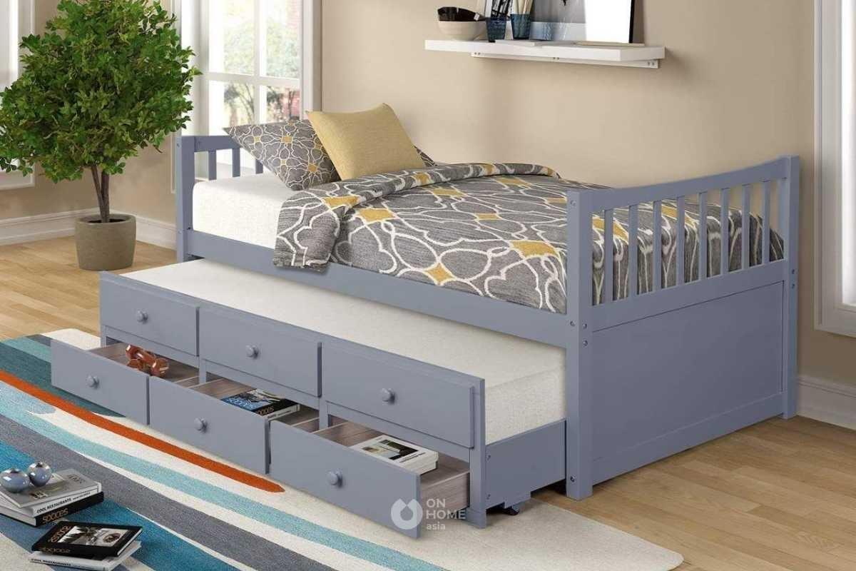 Mẫu giường ngủ thông minh với ngăn kéo gọn gàng.