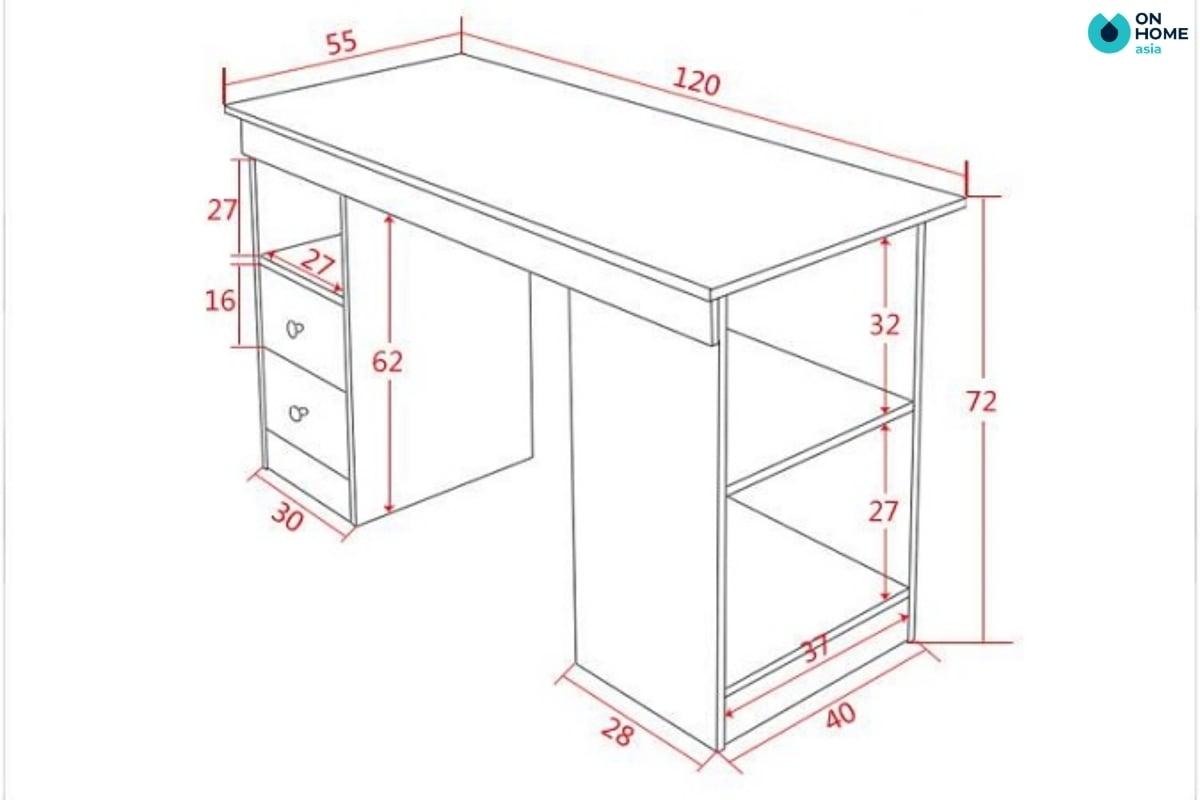 kích thước bàn học chuẩn