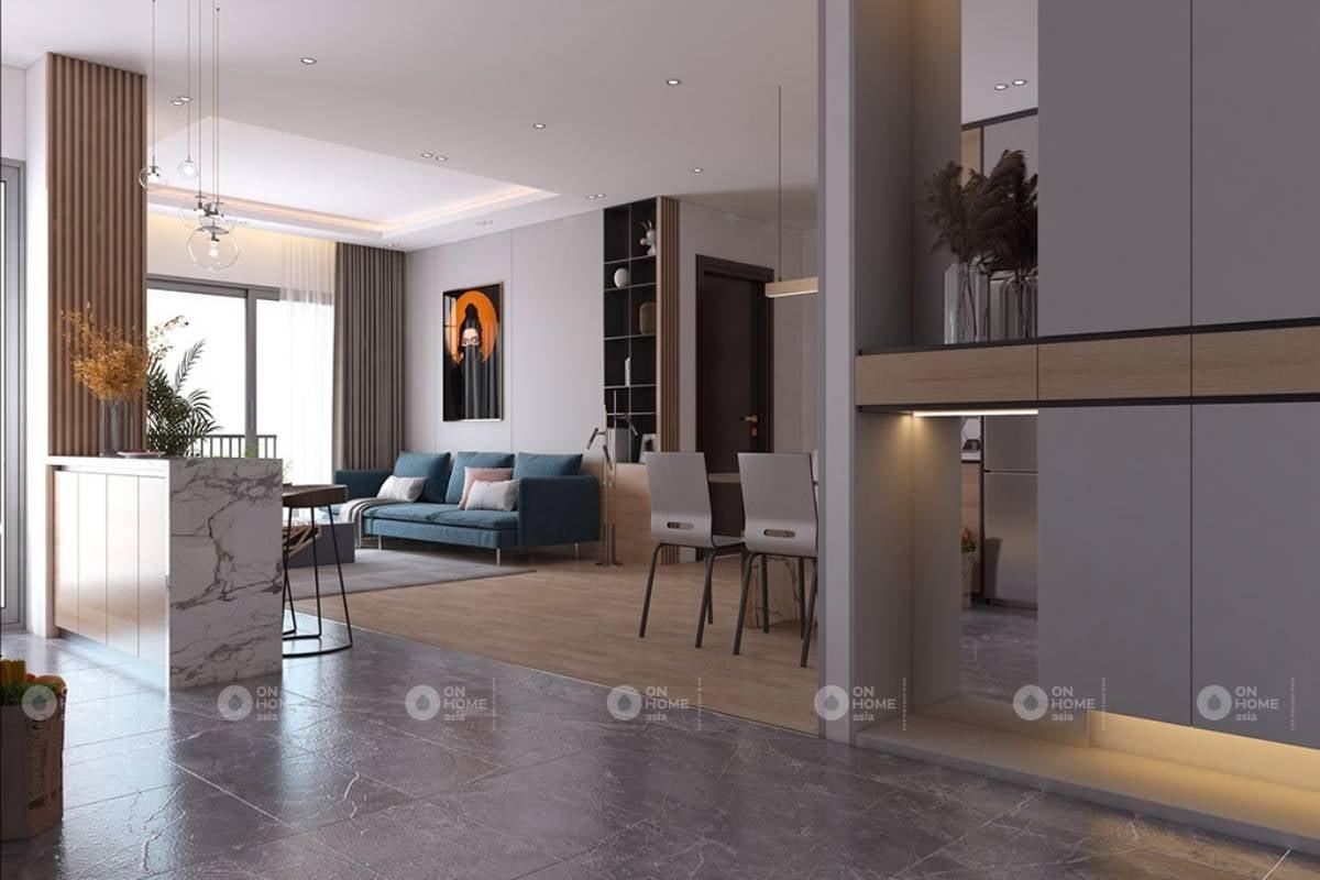 Không gian phòng khách với gam màu trầm ấm