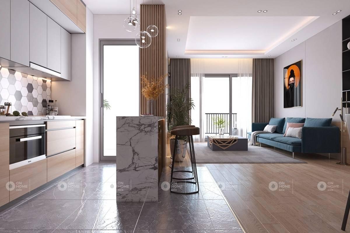 Phòng khách ấn tượng với gam màu trầm ấm