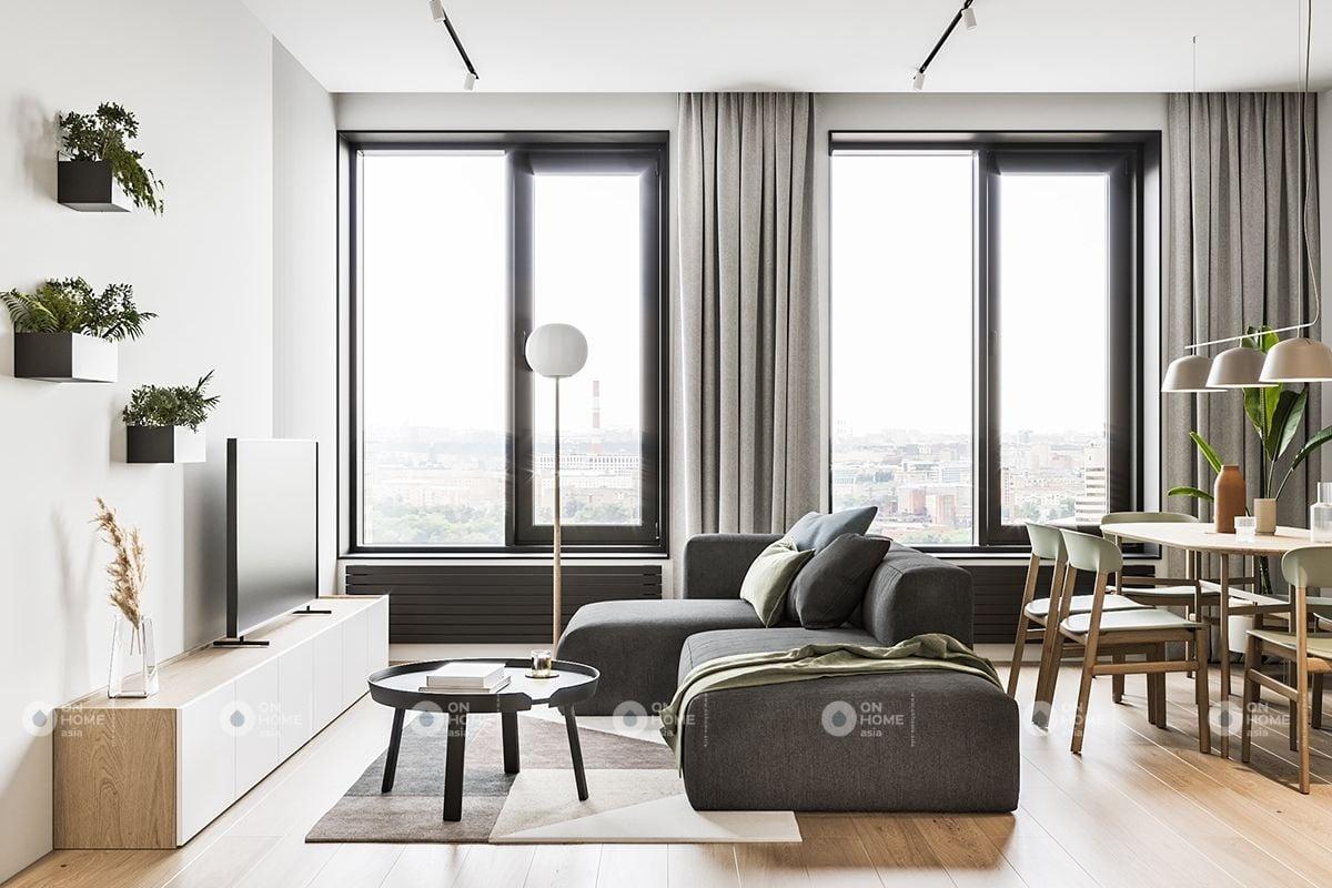 Không gian nội thất phòng khách đơn giản
