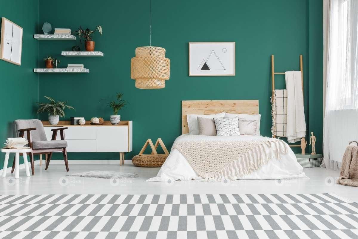 Bố trí sơn tường phòng ngủ màu xanh