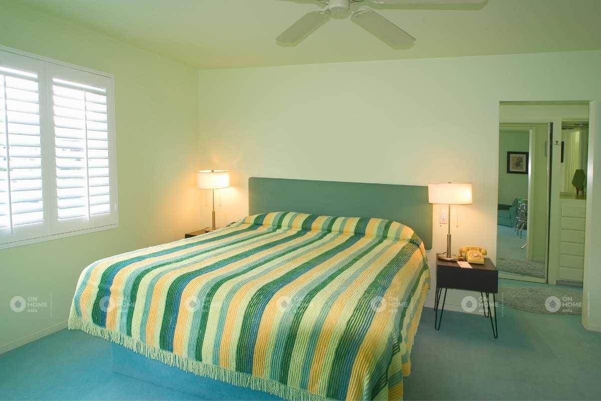 Không gian phòng ngủ sơn tường màu xanh
