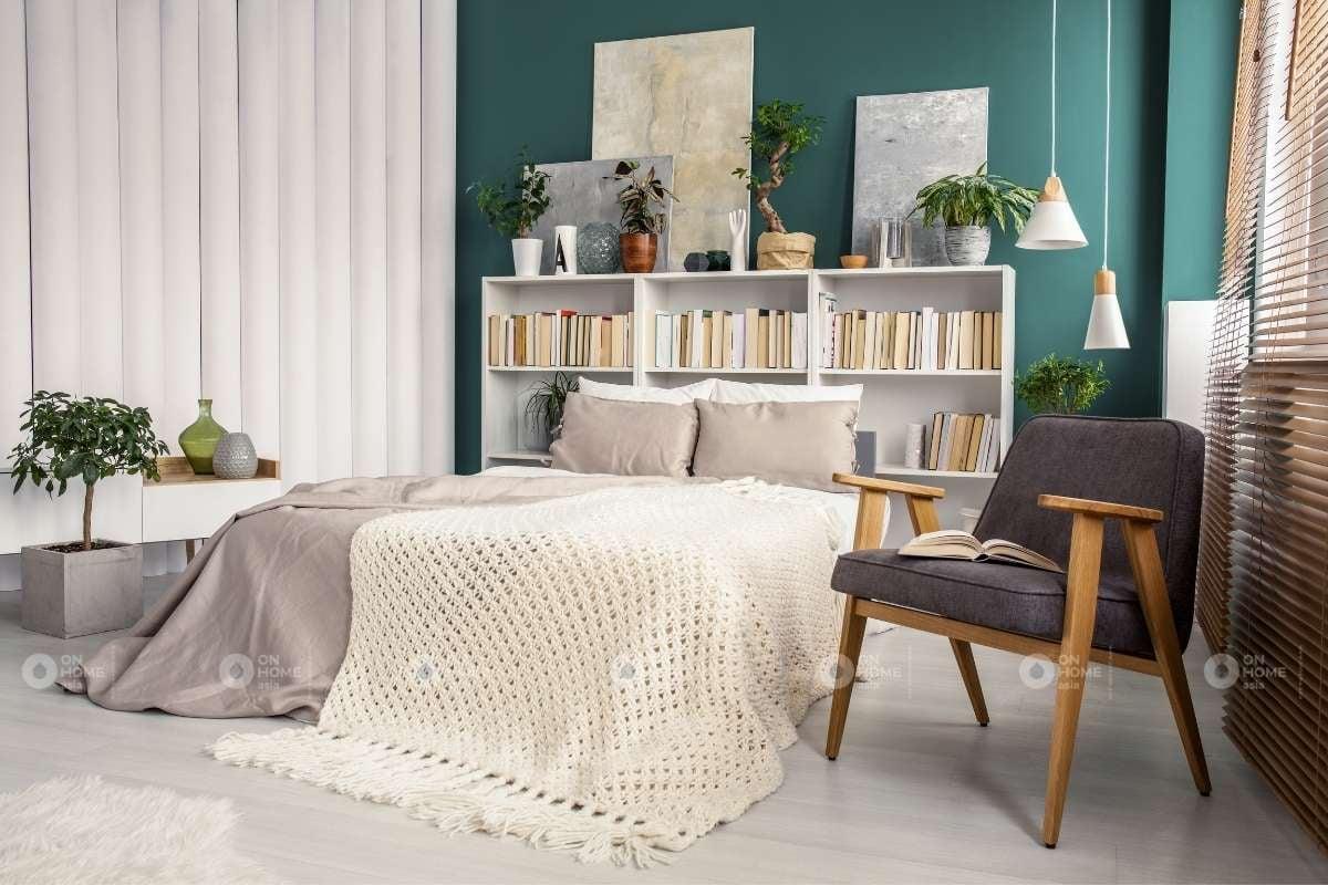 Màu sơn tường phòng ngủ màu xanh lá đậm