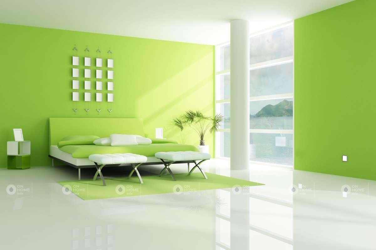 Màu sơn tường phòng ngủ màu xanh lá