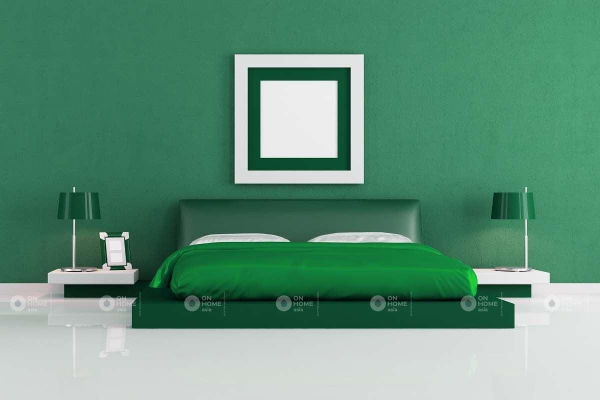 Màu sơn tường phòng ngủ màu xanh