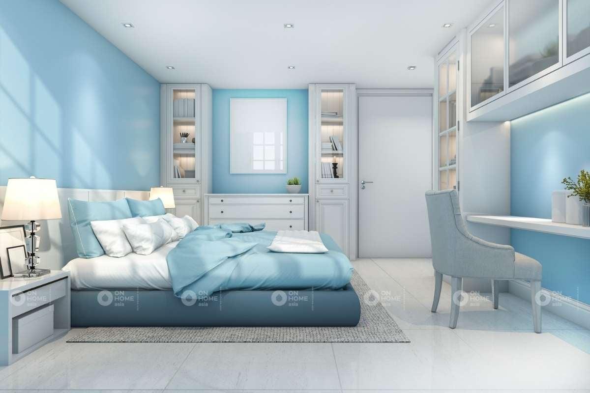 Phòng ngủ màu xanh đơn giản và đẹp
