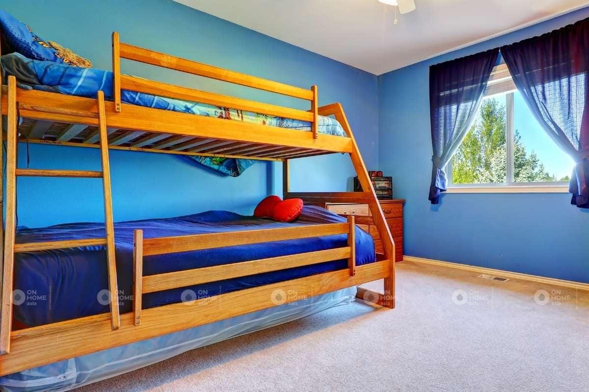 Sơn tường màu xanh phòng ngủ cho trẻ em
