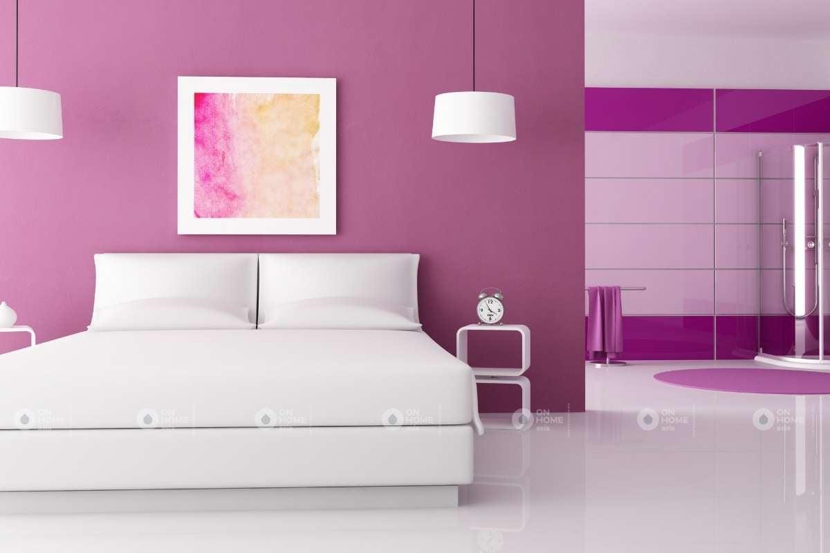 Sơn tường phòng ngủ bằng màu tím đẹp