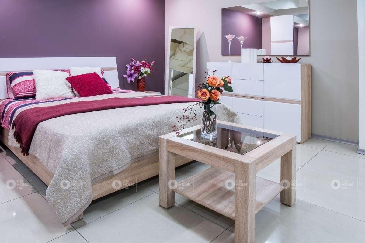 Sơn tường phòng ngủ bằng màu tím nhẹ nhàng