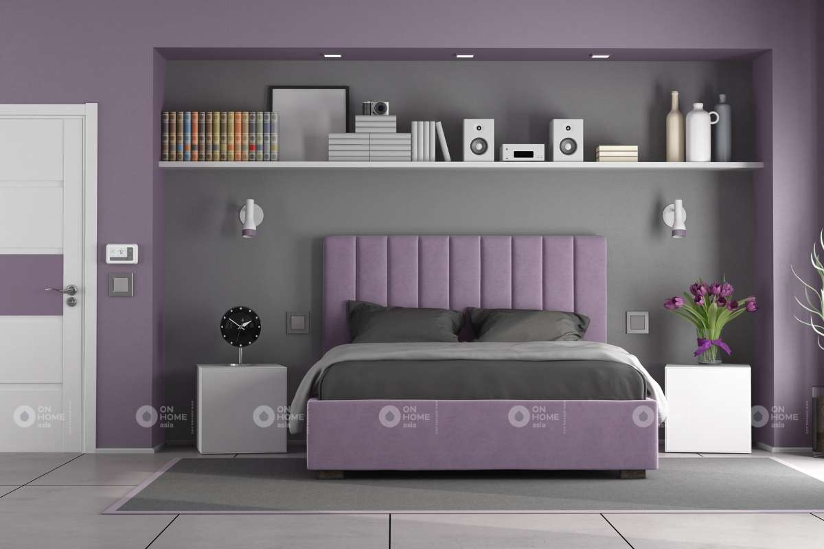 Sơn tường phòng ngủ bằng màu tím than