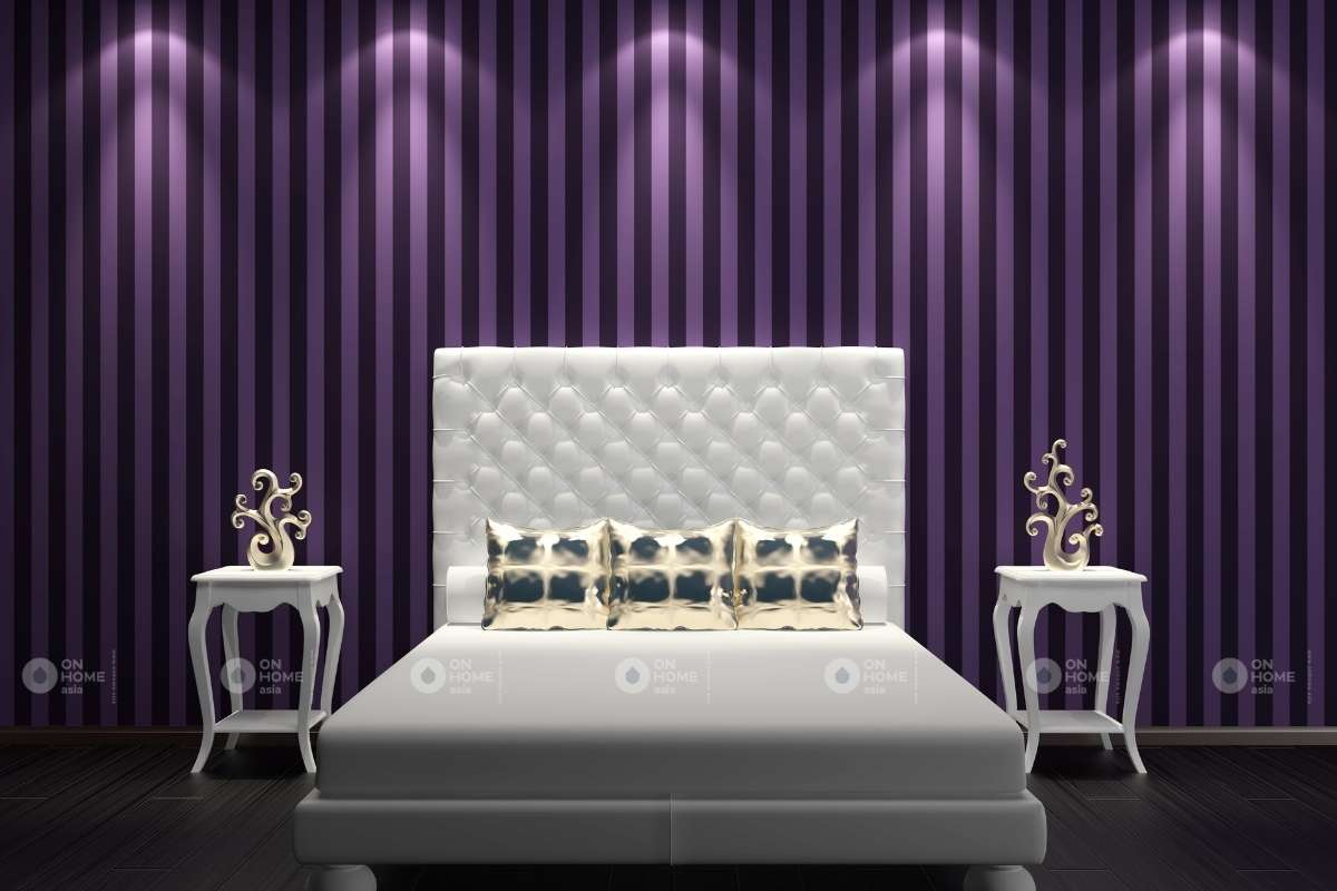 Sơn tường phòng ngủ bằng màu tím