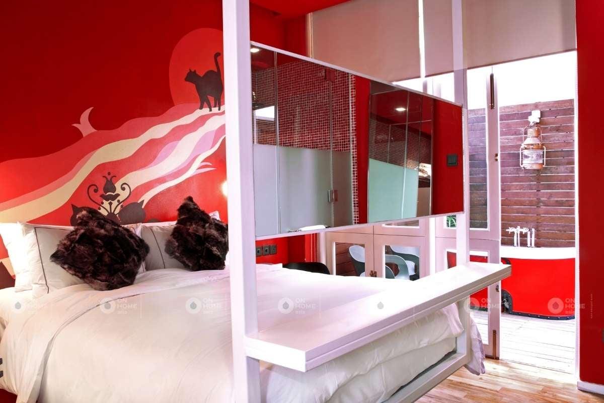 Sơn tường phòng ngủ màu đỏ
