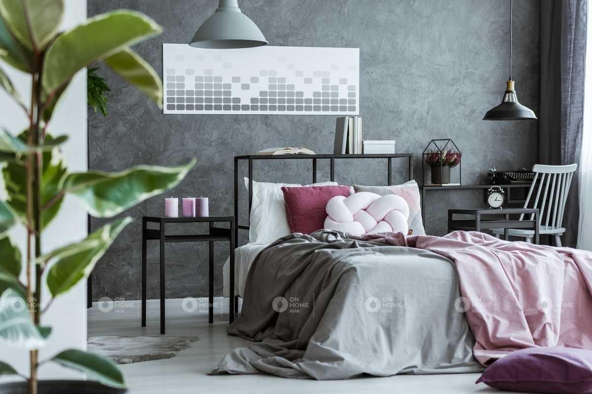 Sơn tường phòng ngủ màu xám