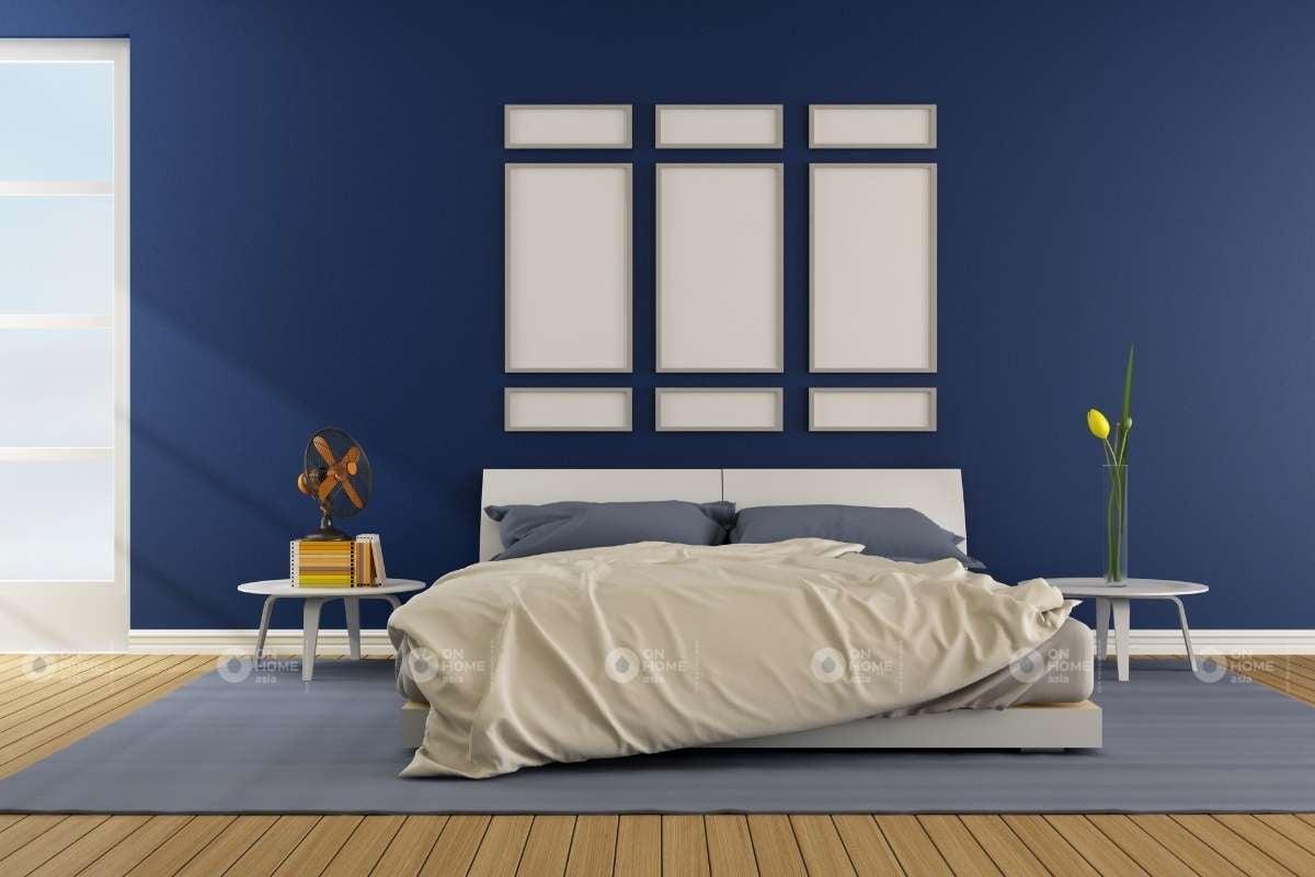 Sơn tường phòng ngủ màu xanh đậm