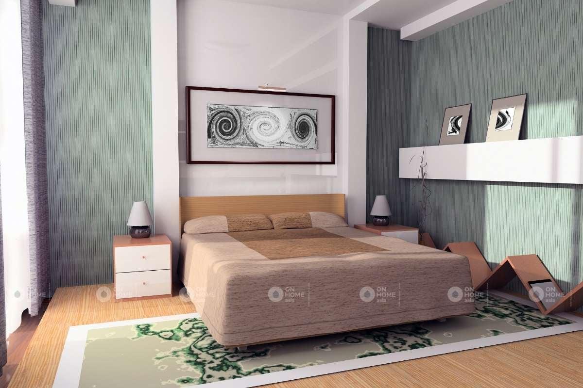 Sơn tường phòng ngủ màu xanh đẹp đơn giản