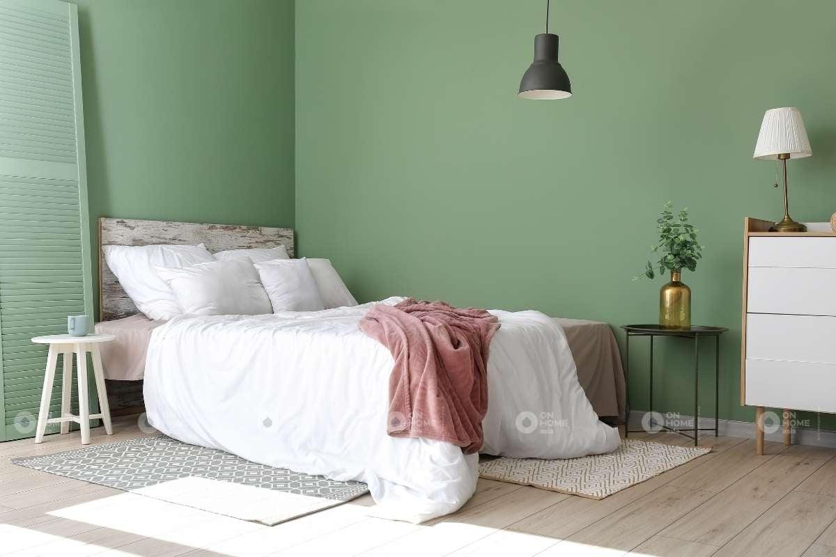 Sơn tường phòng ngủ màu xanh mint
