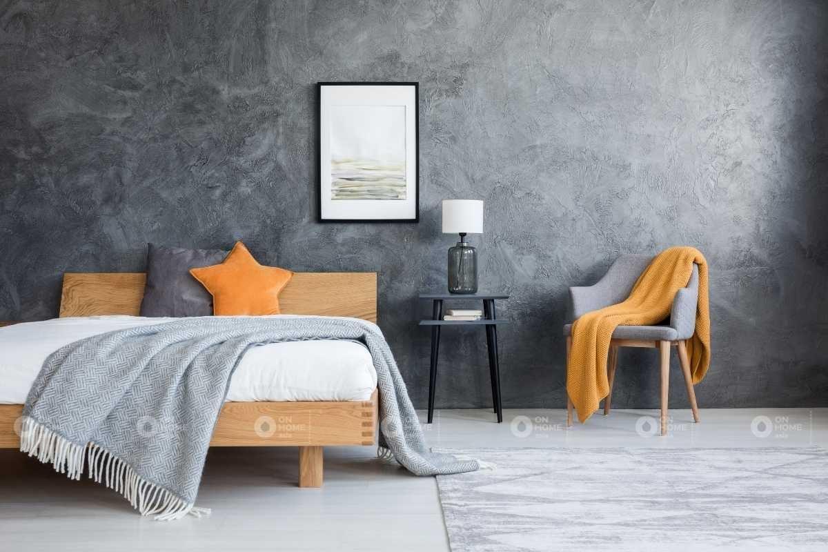 Sơn tường phòng ngủ với gam màu xám