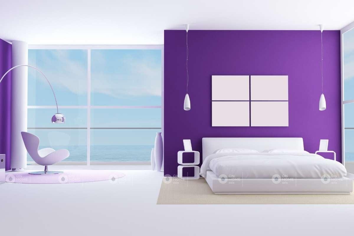 Thiết kế tường phòng ngủ màu tím