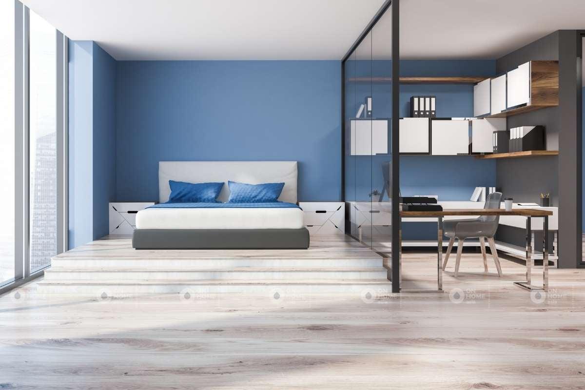 Trang trí nội thất phòng ngủ màu xanh dương