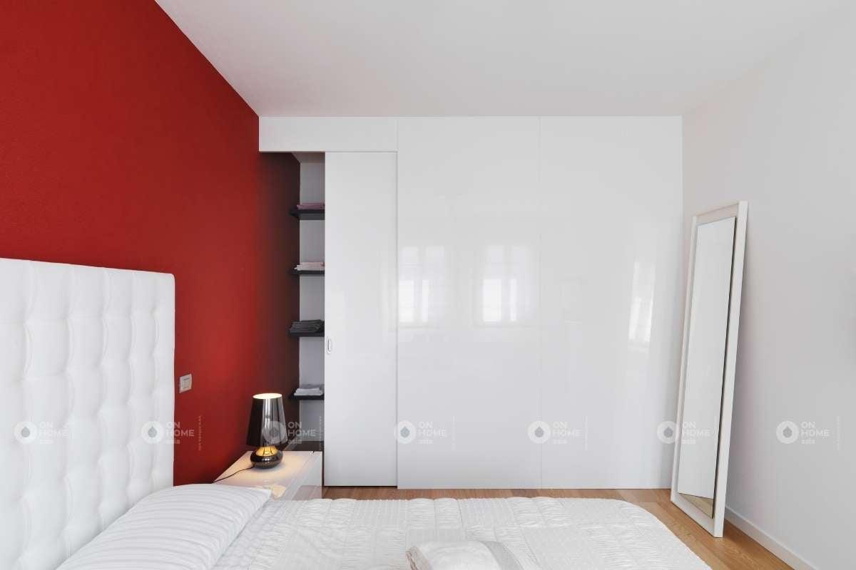 Trang trí tường đầu giường màu đỏ