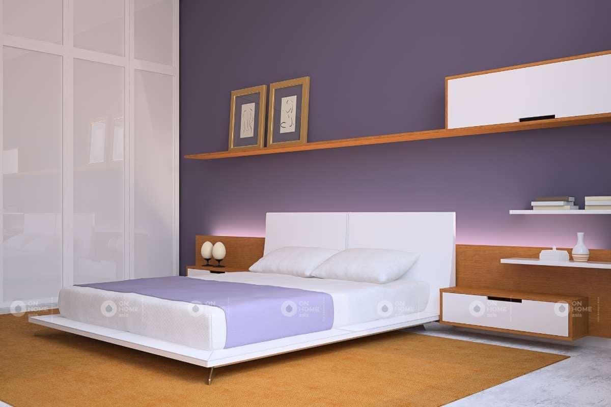 Trang trí tường phòng ngủ màu tím