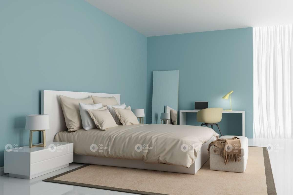 Tường màu xanh nhạt đep ấn tượng
